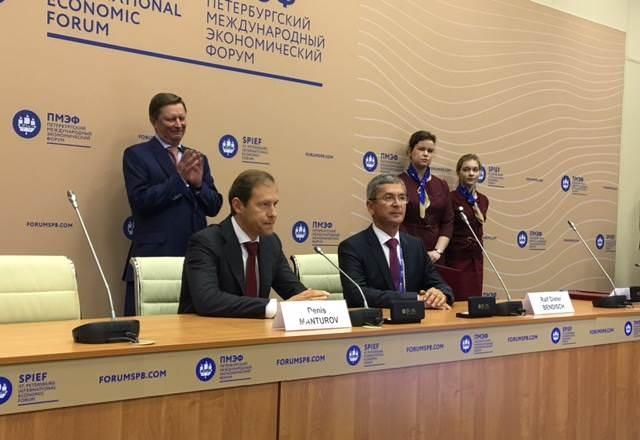 Подписание СПИК между правительством России в лице Министерства промышленности и торговли и российским заводом «КЛААС»
